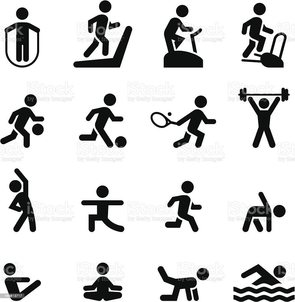 Fitness Icons - Black Series vector art illustration