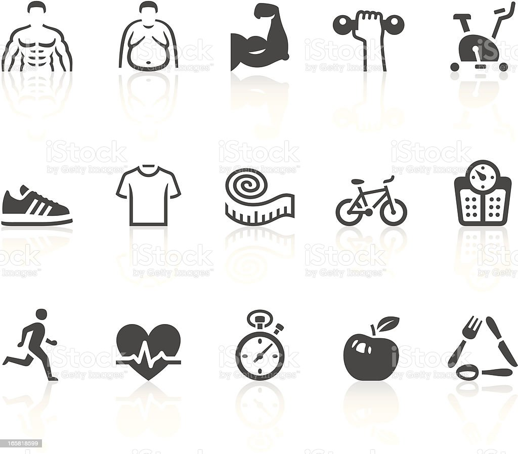 Fitness icons vector art illustration