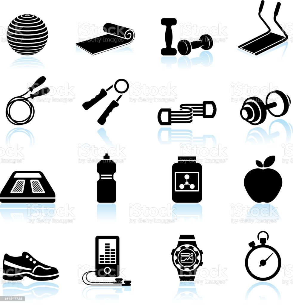 Fitness yoga and palates equipment black & white icon set vector art illustration
