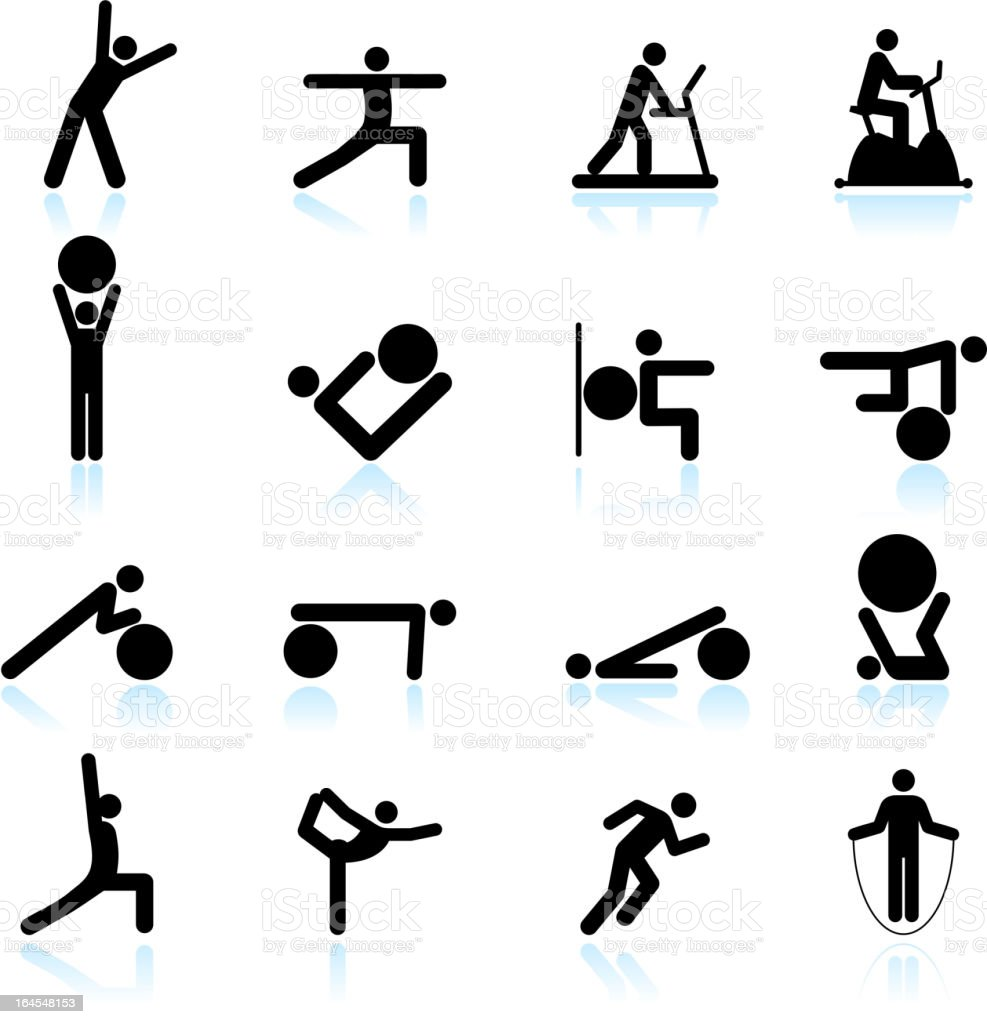 Fitness yoga and palates exercise black & white icon set royalty-free stock vector art
