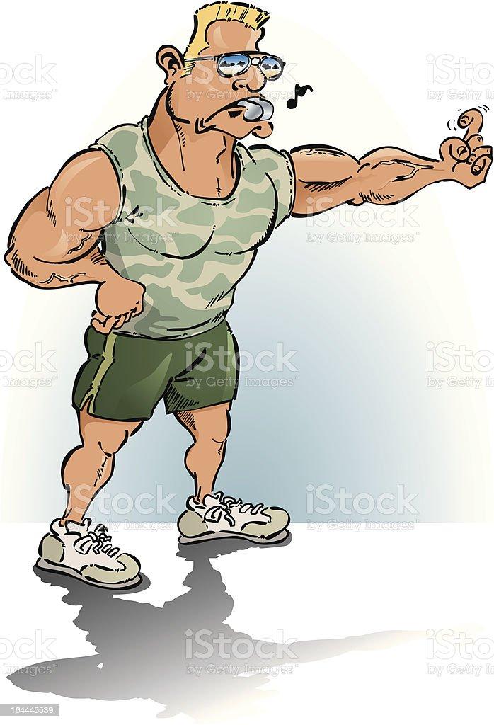 fitness-trainer and drill-sergant vector art illustration