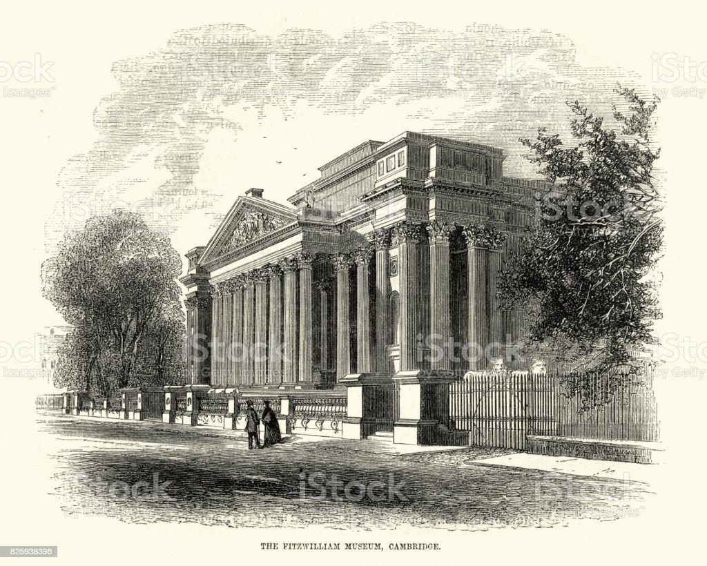 Fitzwilliam Museum, Cambridge, 19th Century vector art illustration