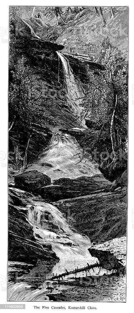 Five Cascades, Kaaterskill Clove, New York vector art illustration