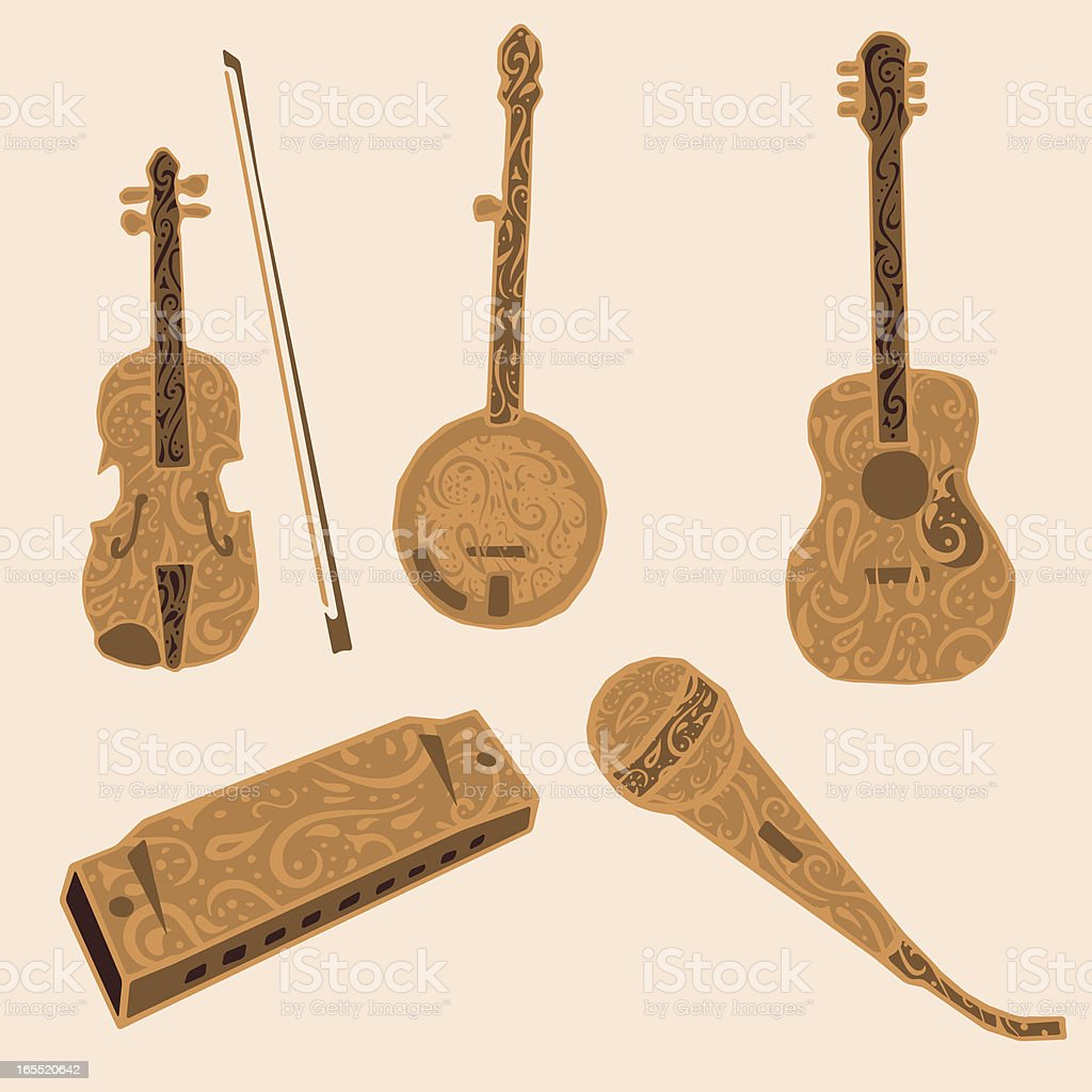 Five decorative musical instruments vector art illustration
