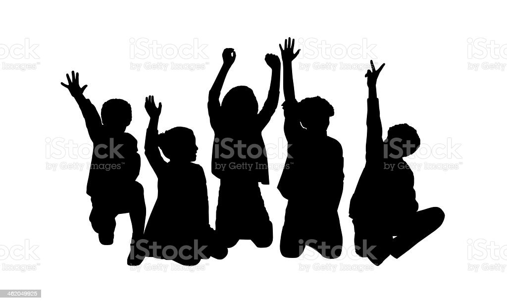 five happy children seated silhouette vector art illustration