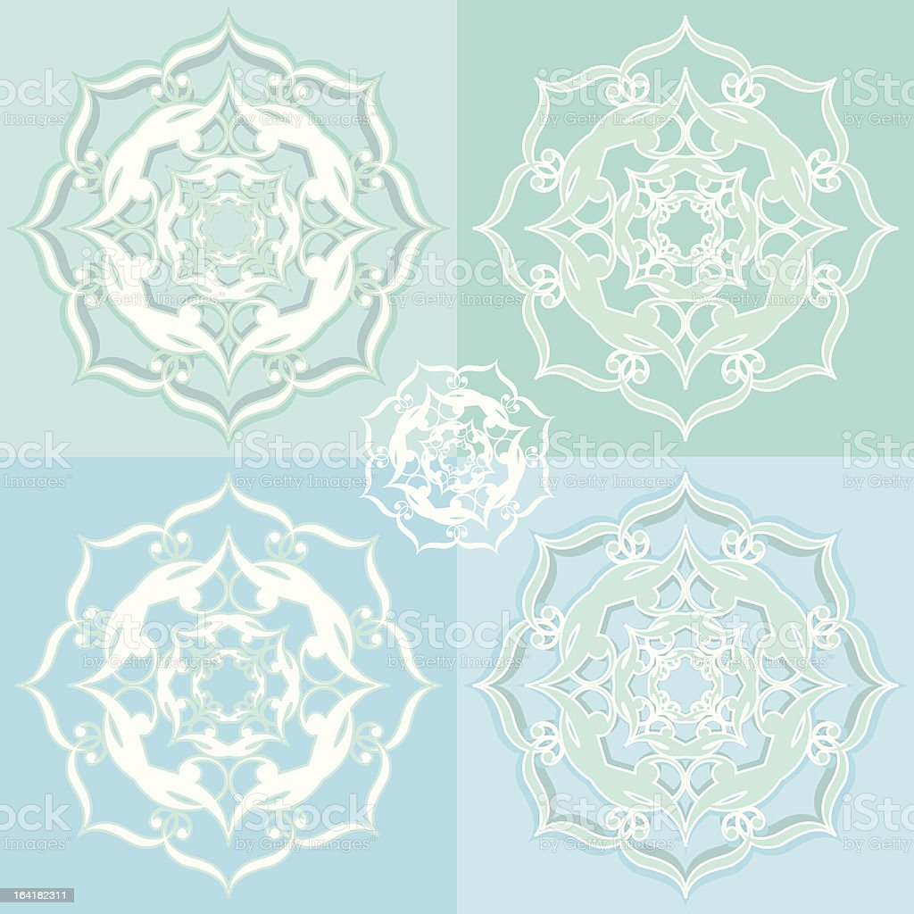Five Ornate Snowflakes royalty-free stock vector art