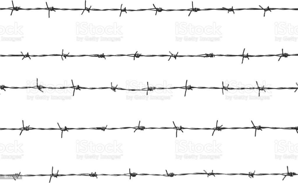 five pieces of barbed wire vector art illustration
