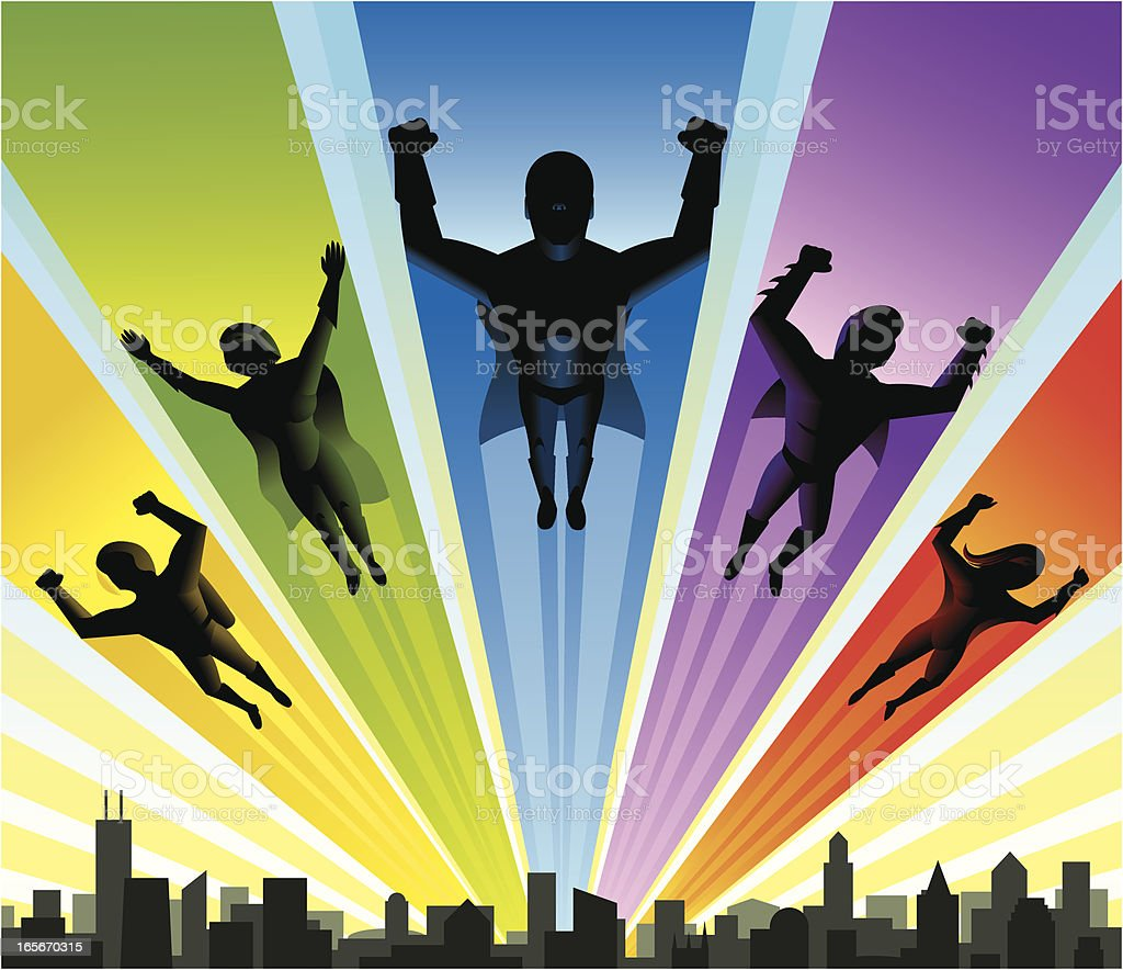 Five Super Heroes vector art illustration