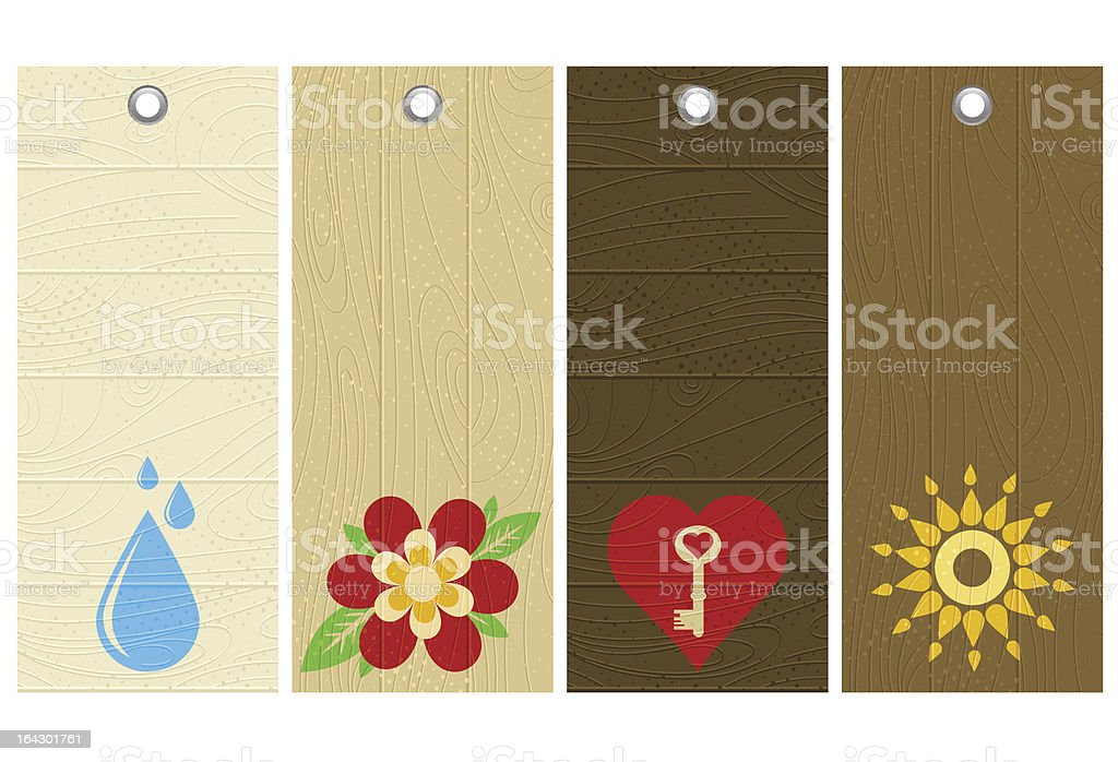 five wooden labels royalty-free stock vector art