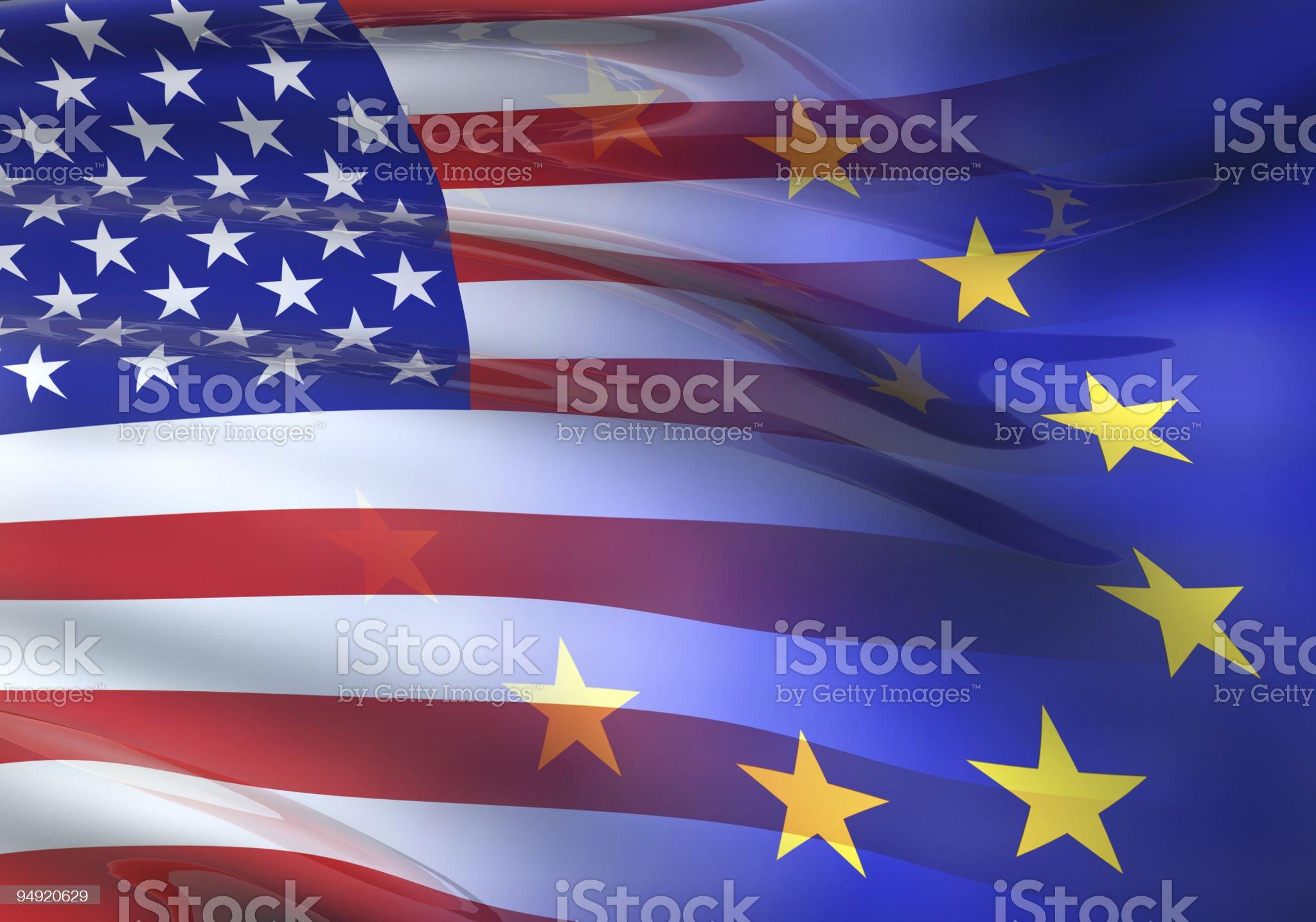 US - EU flag 3D royalty-free stock vector art