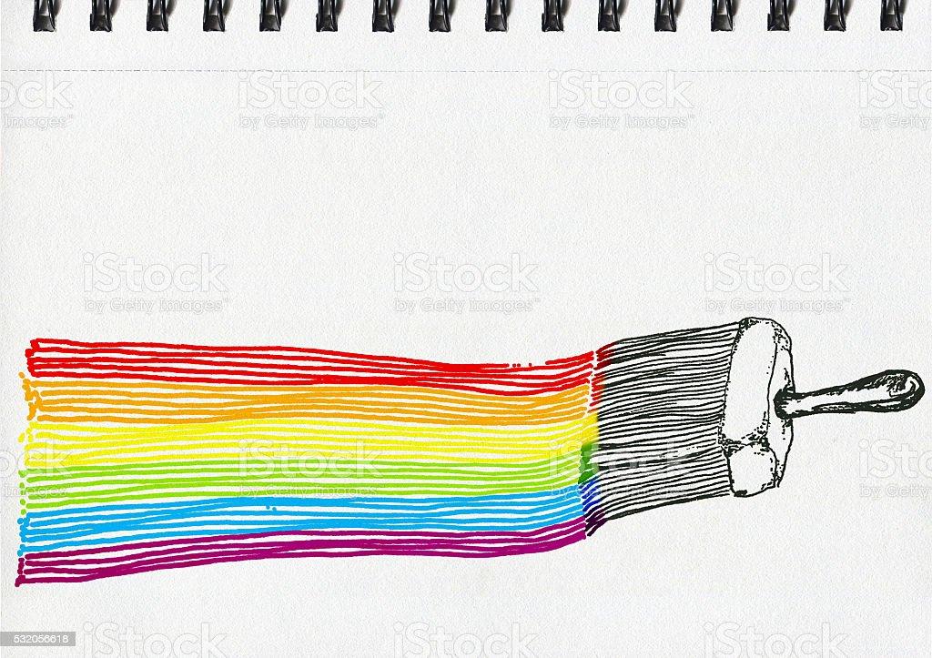 LGBT flag, artistic illustration, notebook artwork vector art illustration