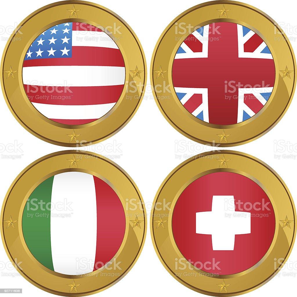 Flag Coins: USA, UK, Italy, Switzerland royalty-free stock vector art