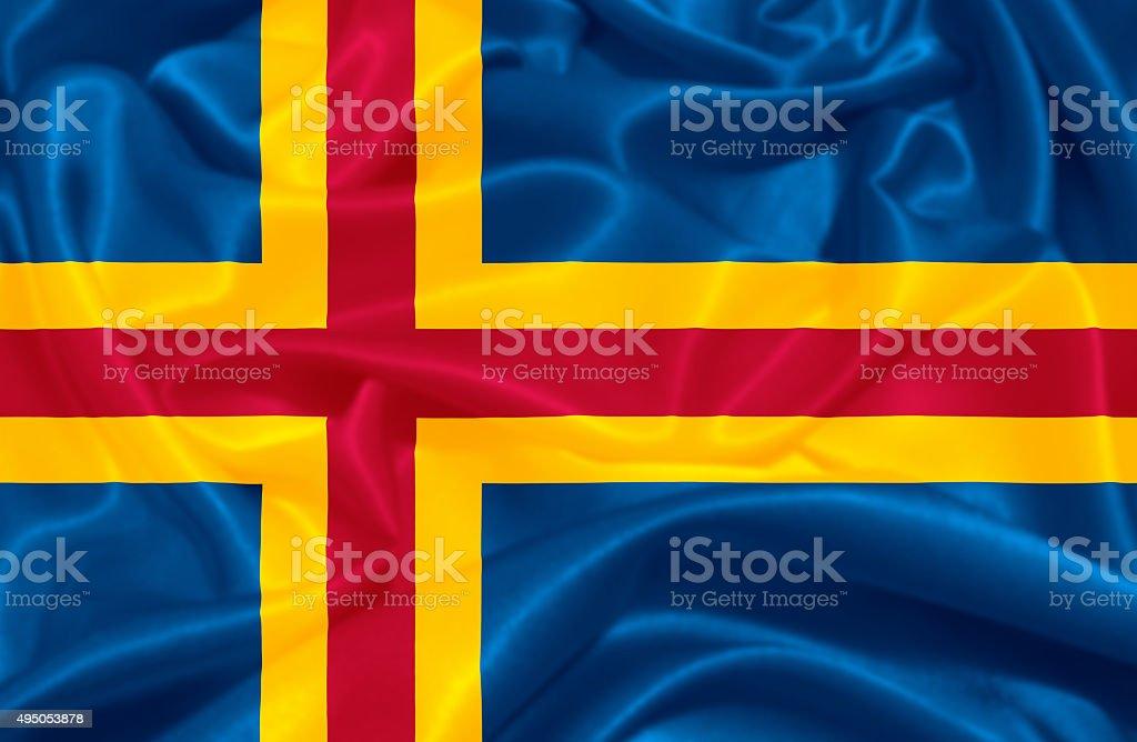 Flag of Aland vector art illustration