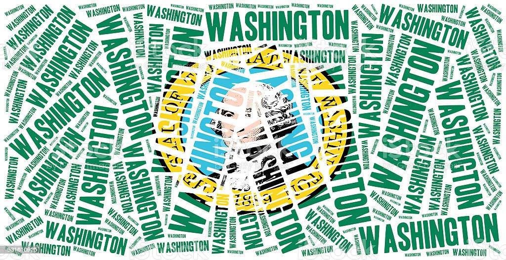 Flag of American state. Word cloud illustration. vector art illustration