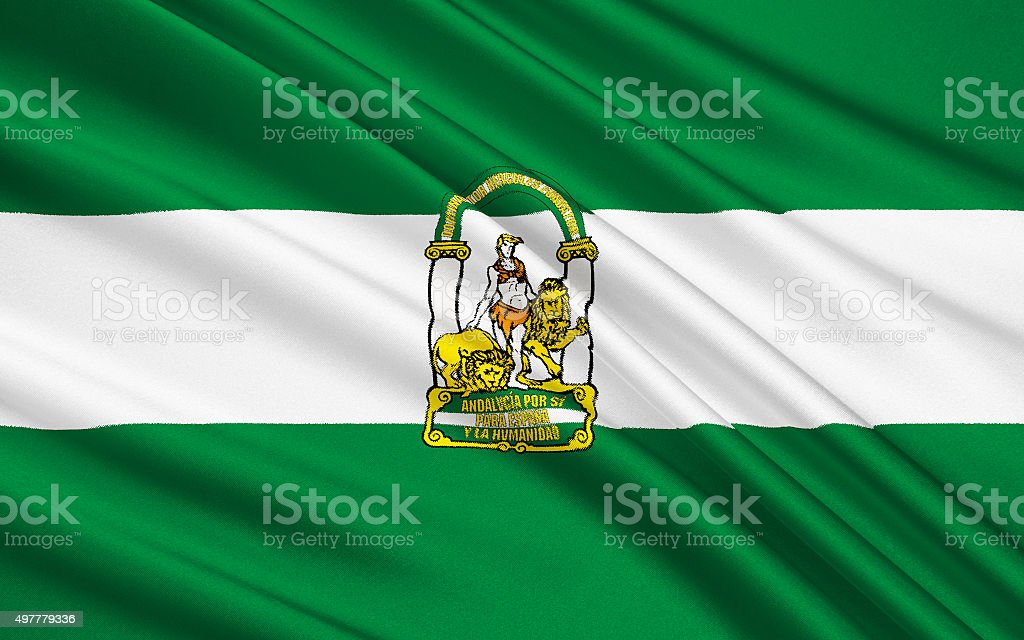 Flag of Andalusia, Spain vector art illustration
