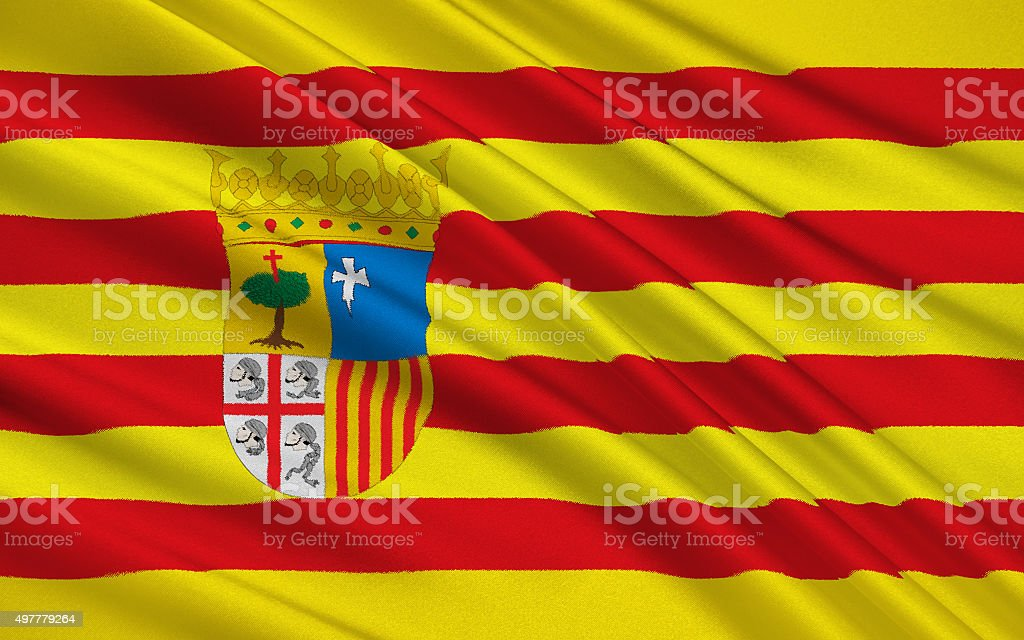 Flag of Aragon, Spain vector art illustration