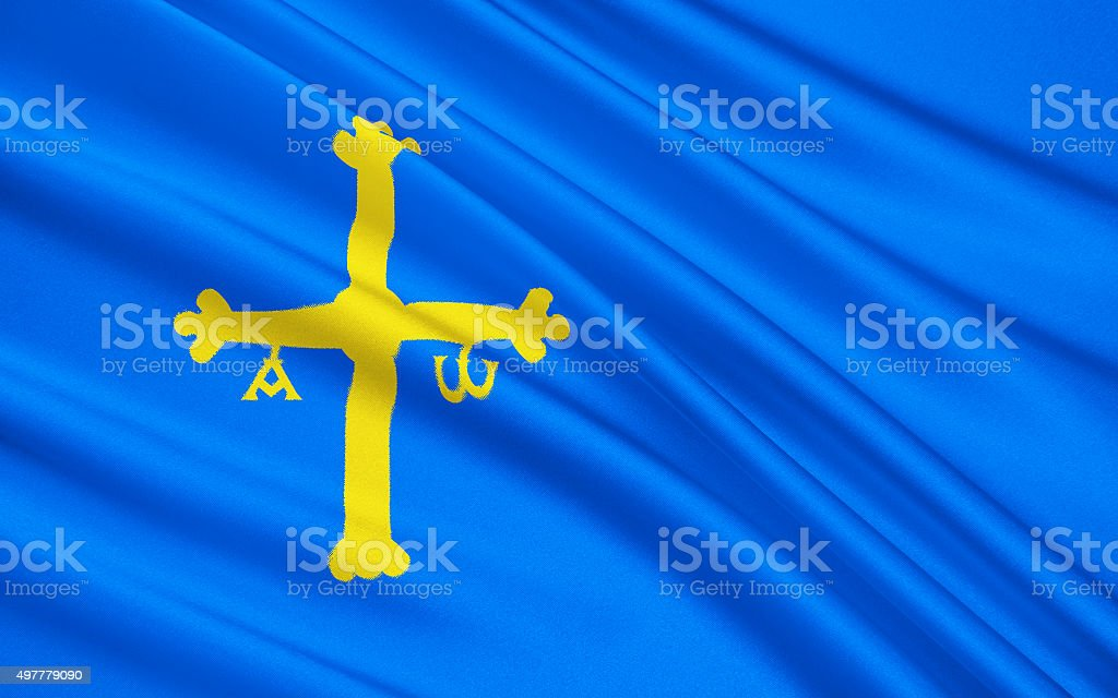 Flag of Asturias, Spain vector art illustration