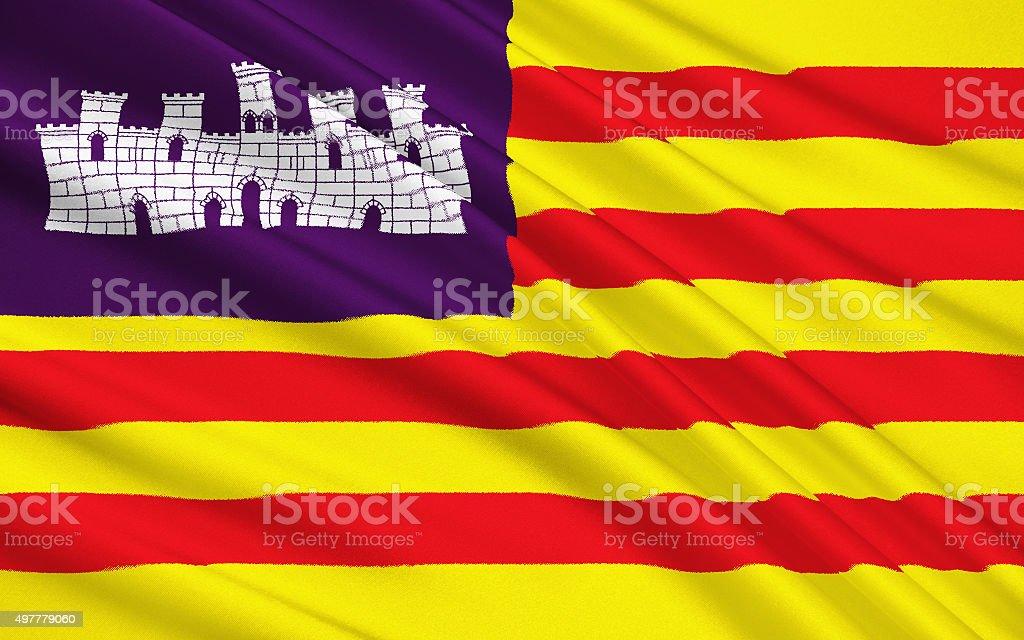 Flag of Balearic Islands, Spain vector art illustration