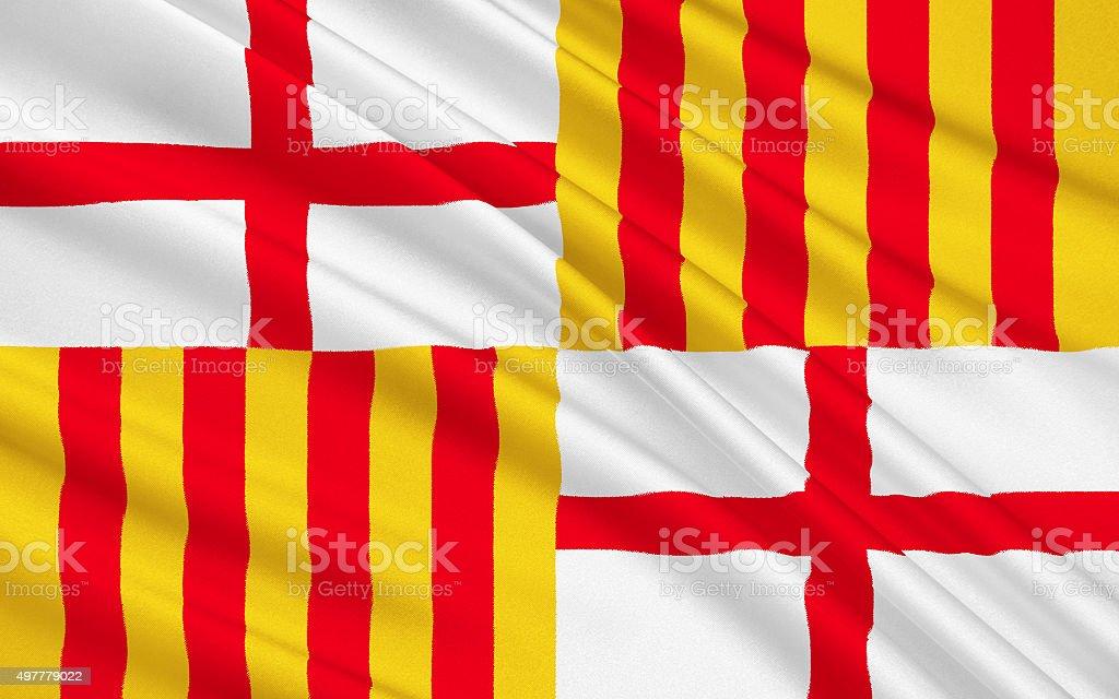 Flag of Barcelona vector art illustration