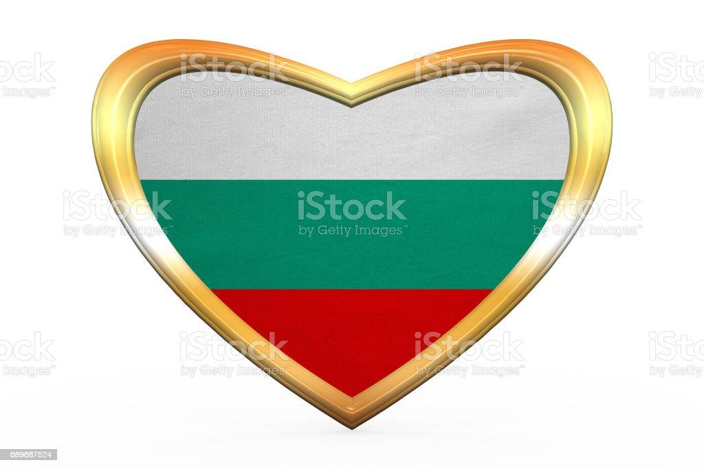 Flag of Bulgaria in heart shape, golden frame vector art illustration