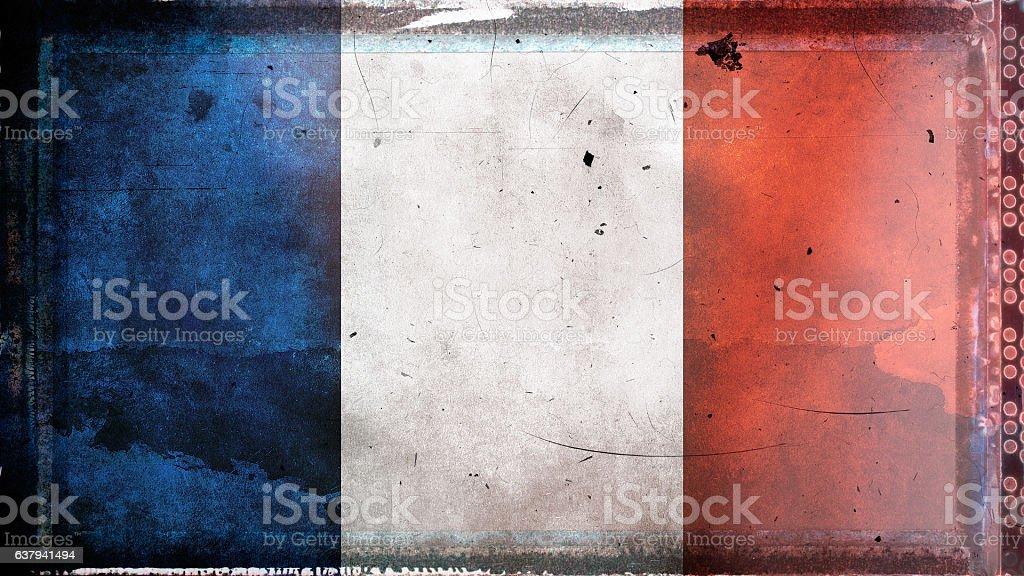Flag of France, on a grunge film frame vector art illustration