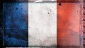 Flag of France, on a grunge film frame