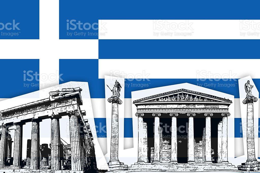 Flag of Greece vector art illustration