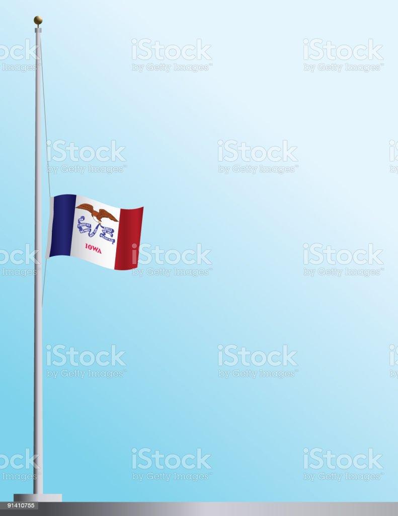 Flag of Iowa at Half-Staff royalty-free stock vector art