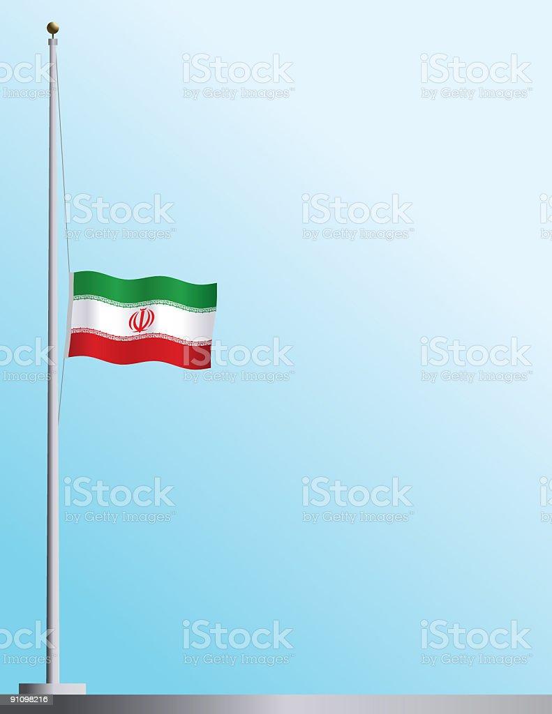Flag of Iran at Half-Staff royalty-free stock vector art
