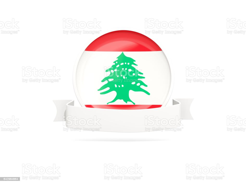 Flag of lebanon with banner stock photo