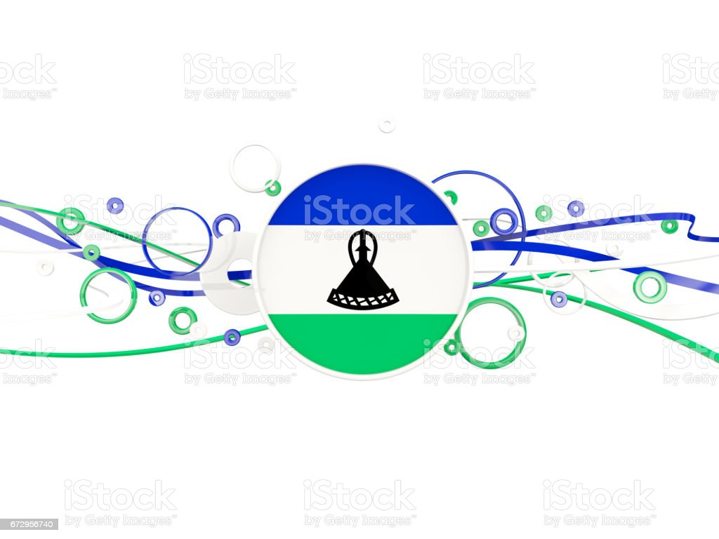 Flag of lesotho, circles pattern with lines vector art illustration