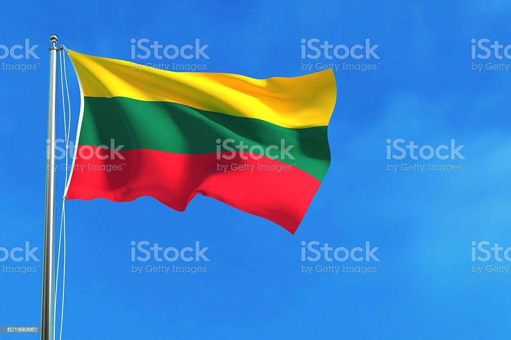 Flag of Lithuania on the blue sky background. vector art illustration
