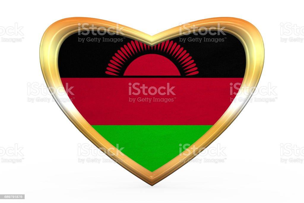 Flag of Malawi in heart shape, golden frame vector art illustration