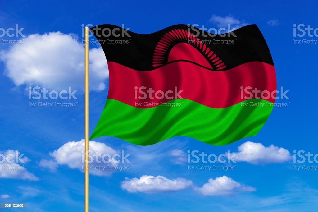 Flag of Malawi waving on blue sky background vector art illustration