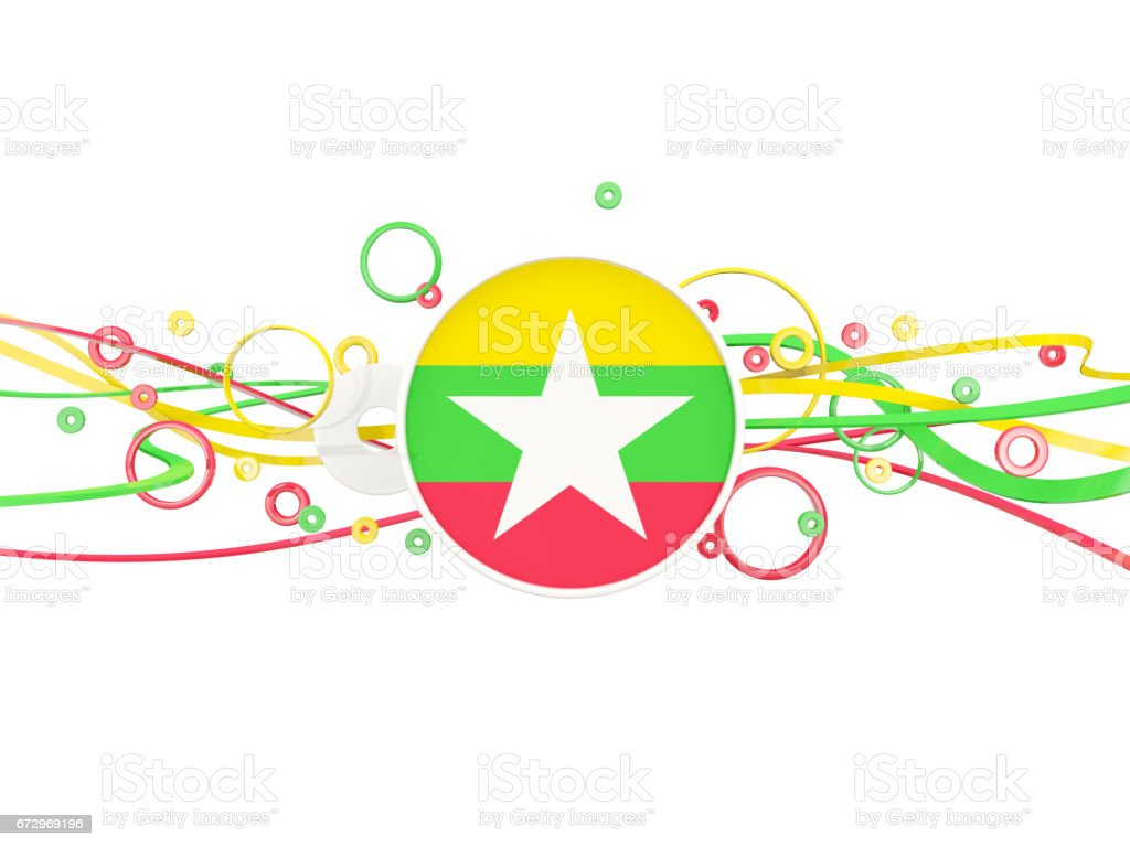 Flag of myanmar, circles pattern with lines stock photo