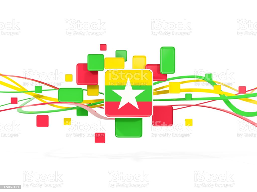 Flag of myanmar, mosaic background with lines stock photo