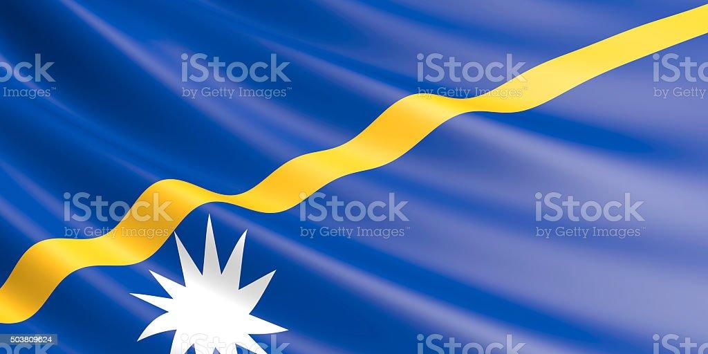 Flag of Nauru waving in the wind. royalty-free stock vector art