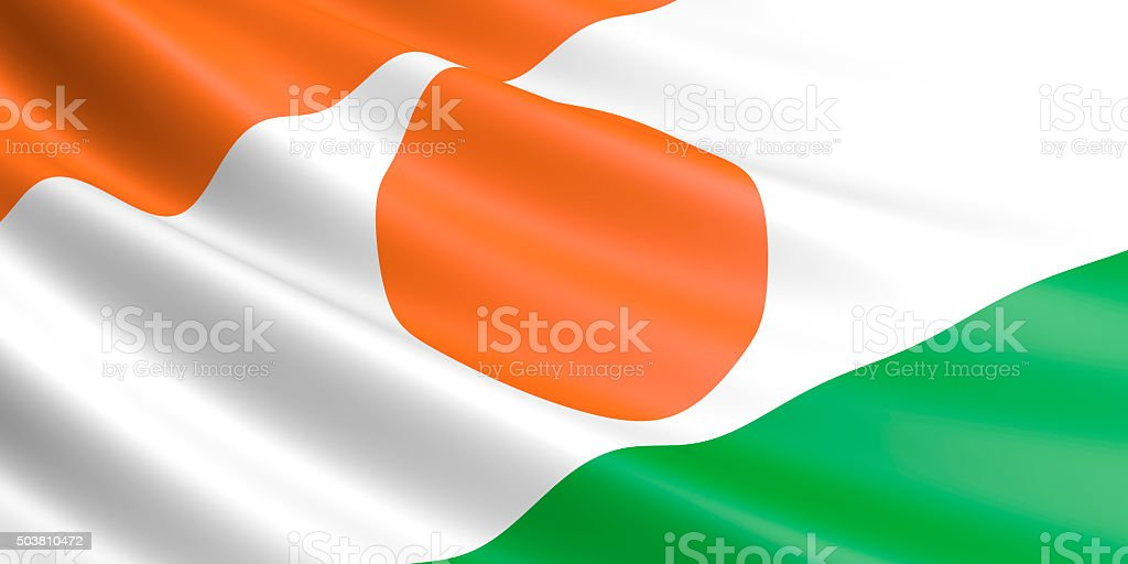 Flag of Niger waving in the wind. royalty-free stock vector art