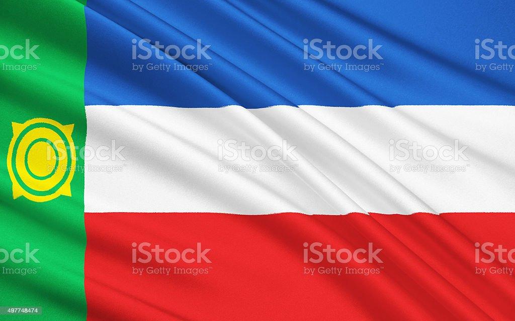 Flag of Republic of Khakassia, Russian Federation vector art illustration