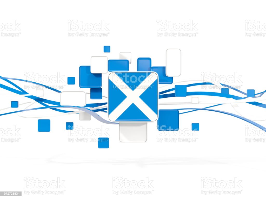 Flag of scotland, mosaic background with lines stock photo