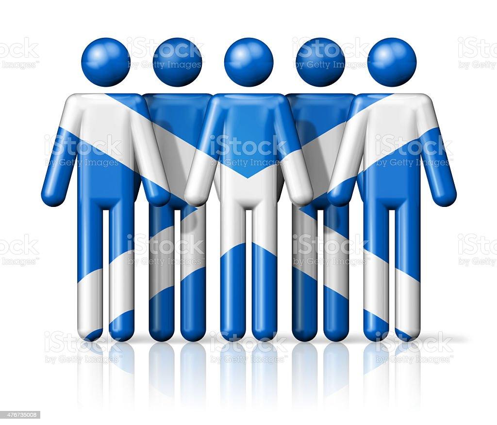 Flag of Scotland on stick figure vector art illustration