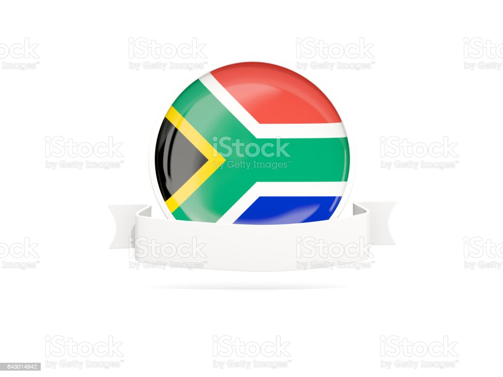 Flag of south africa with banner vector art illustration