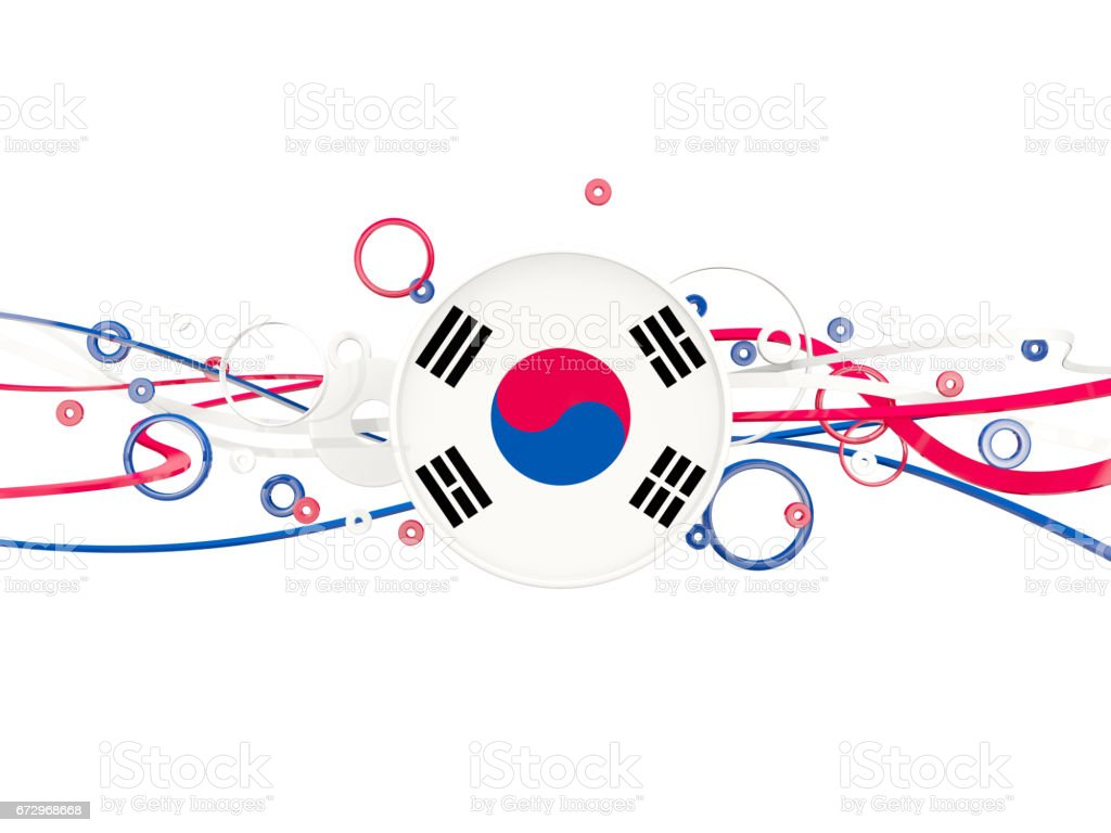 Flag of south korea, circles pattern with lines stock photo