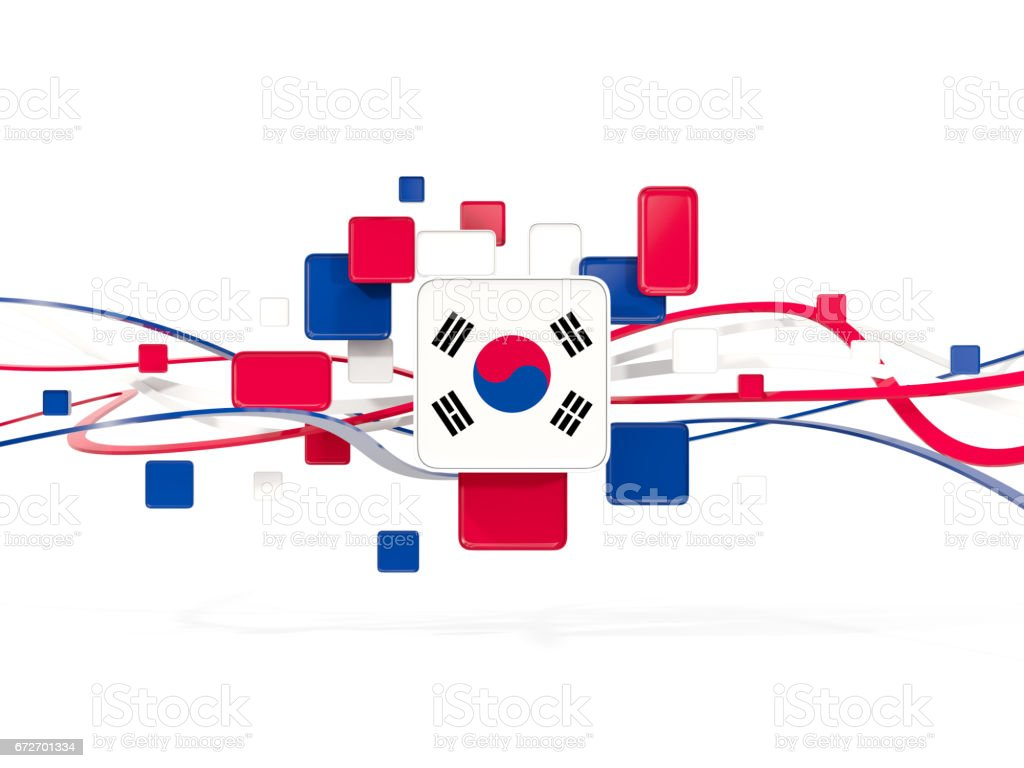 Flag of south korea, mosaic background with lines stock photo