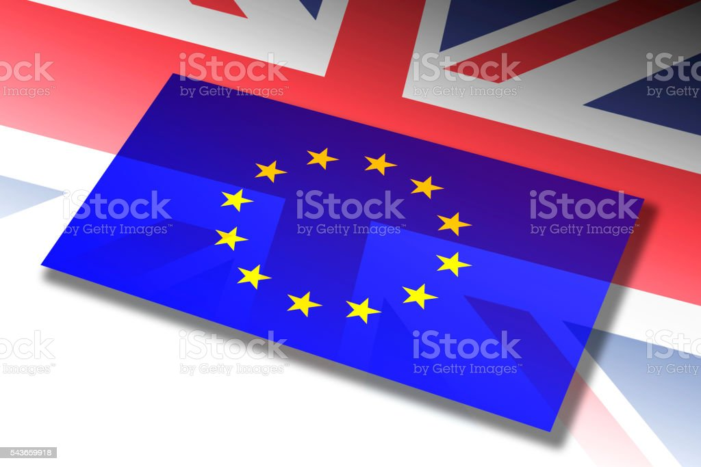 Flag of the European Union & UK vector art illustration
