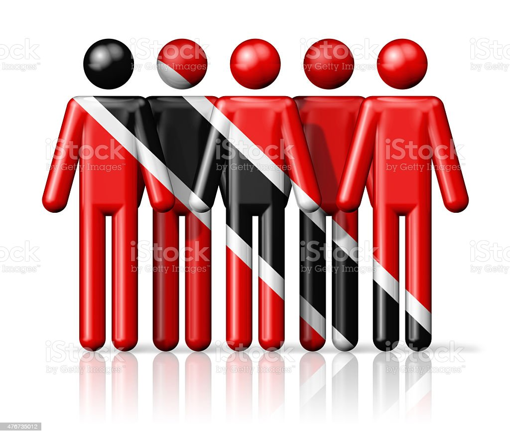 Flag of Trinidad And Tobago on stick figure vector art illustration