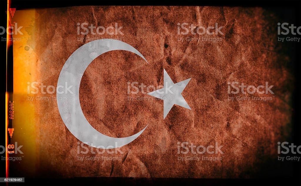 Flag of Turkey, on a grunge film frame vector art illustration