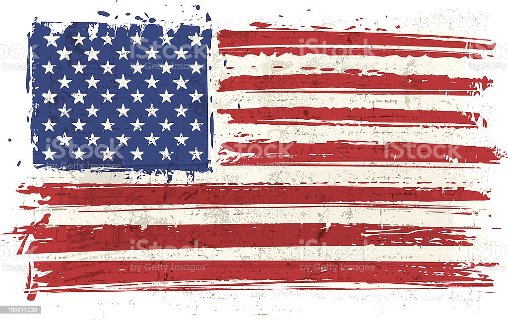 Flag of USA on Wall vector art illustration