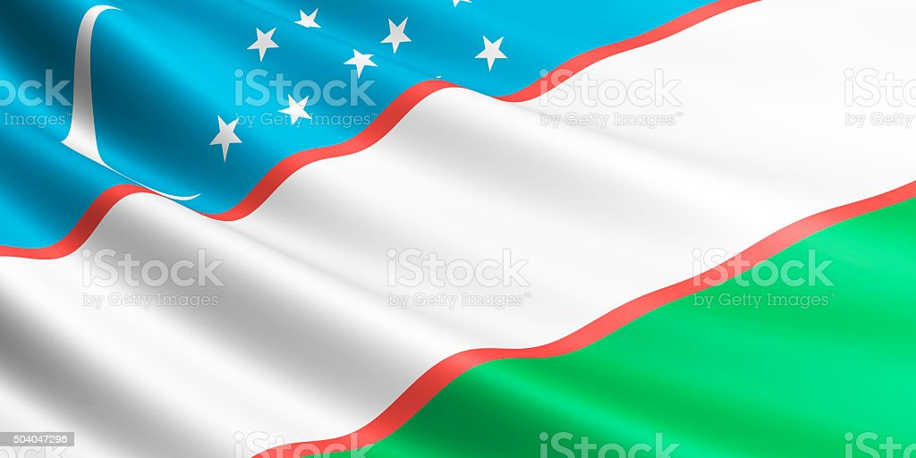 Flag of Uzbekistan waving in the wind. royalty-free stock vector art