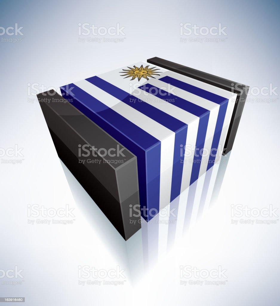 3D flag Republic of Uruguay vector art illustration